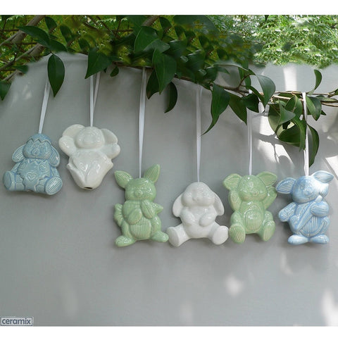 Hanging Ceramic Bunny Glazed Easter Decorations by Ceramix