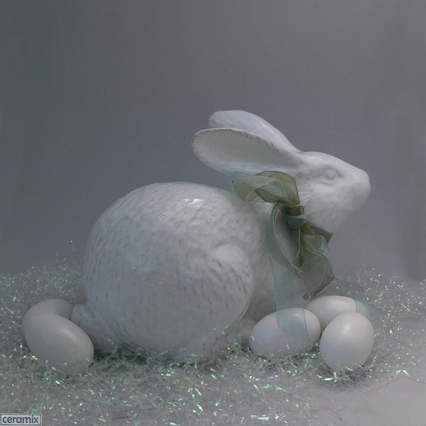 Large Jimmy Crouching White Ceramic Easter Bunny by Ceramix