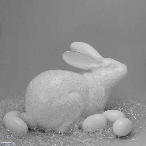 Large Easter Jimmy Crouching White Ceramic Bunny by Ceramix