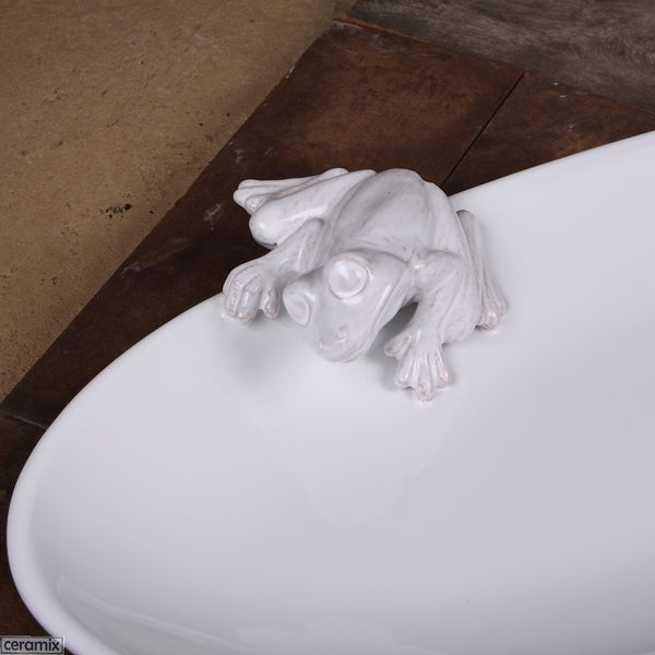 Frog on white Oval Terracotta Platter Handmade by Ceramix. Dishwasher, Microwave & oven proof.