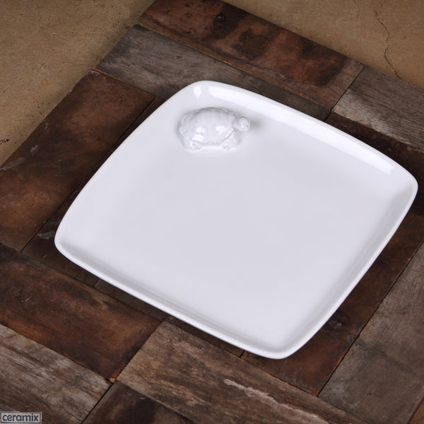 Tortoise Square Plate in Terracotta Clay glazed White Handmade by Ceramix in South Africa