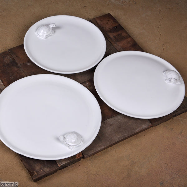Tortoise Cake Plate on Right shown with the Tortoise Round Plate & Cheese Board  Handmade by Ceramix in South Africa.