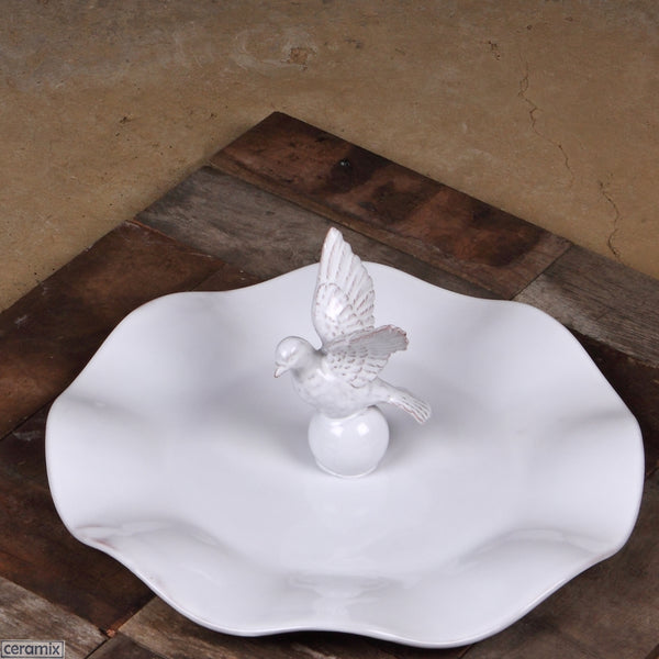Dove Wavy Platter in Terracotta Clay Glazed White. Handmade by Ceramix in South Africa.
