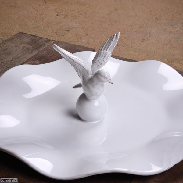 White Glazed Dove Wavy Platter in Terracotta Clay by Ceramix. Handmade in South Africa.