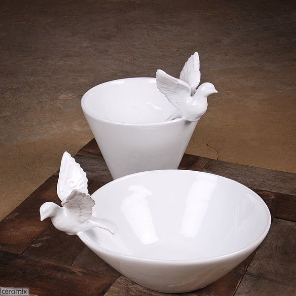 Flying Dove Deep Bowl at the back & Fruit Bowl are Handmade at Ceramix in South Africa from Terracotta Clay glazed White.