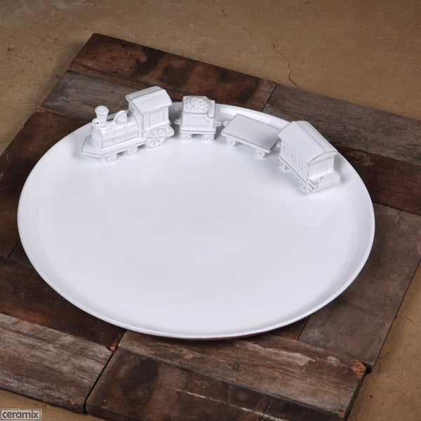 Train Large Round Ceramic Platter in Terracotta Clay glazed White. Handmade by Ceramix in South Africa.