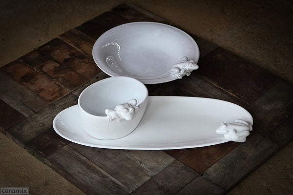 White Ceramic Frog Oval Platter and Bowl and Round Serving Bowl in Terracotta Clay Glazed White by Ceramix