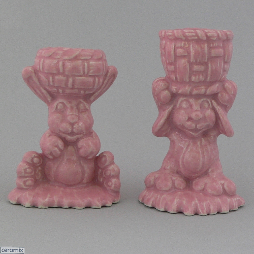2 Pink Basket Glazed Ceramic Bunny Egg Cups