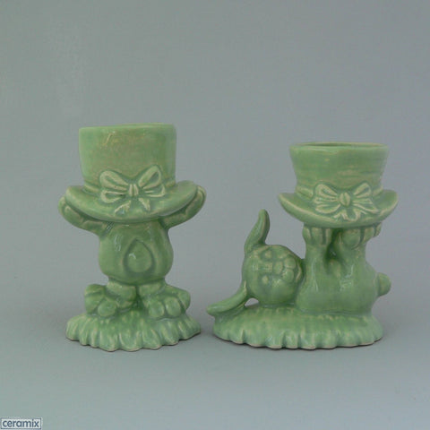 2 Mint Green Top Hat Bunny Egg Cups