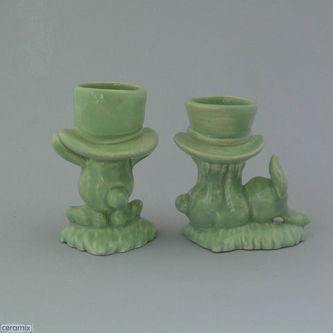 Back of 2 Mint Green Top Hat Bunny Egg Cups