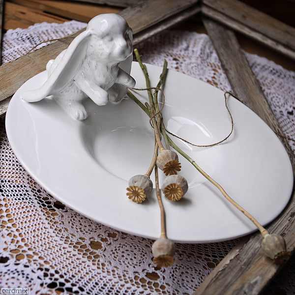 Bunny Round Fruit Platter in Terracotta Clay glazed White. Handmade in South Africa by Ceramix.