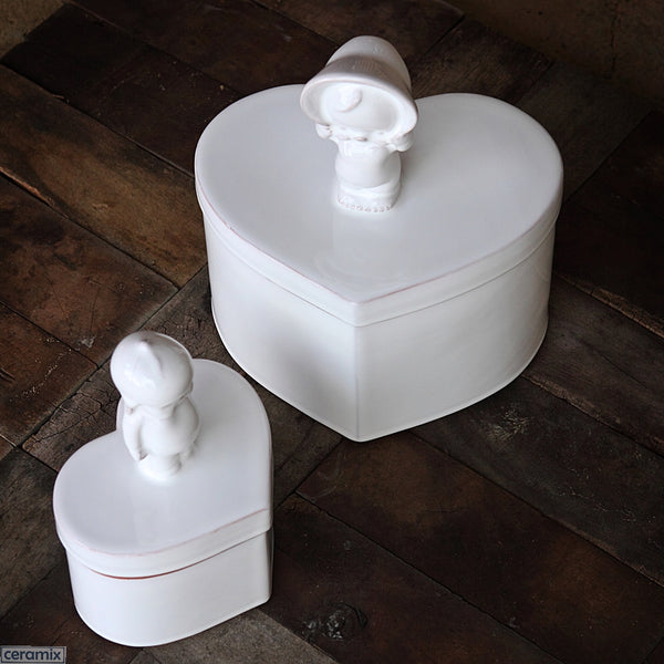 Large Kewpie Heart Boxes in Terracotta Clay glazed White. Handmade in South Africa by Ceramix.