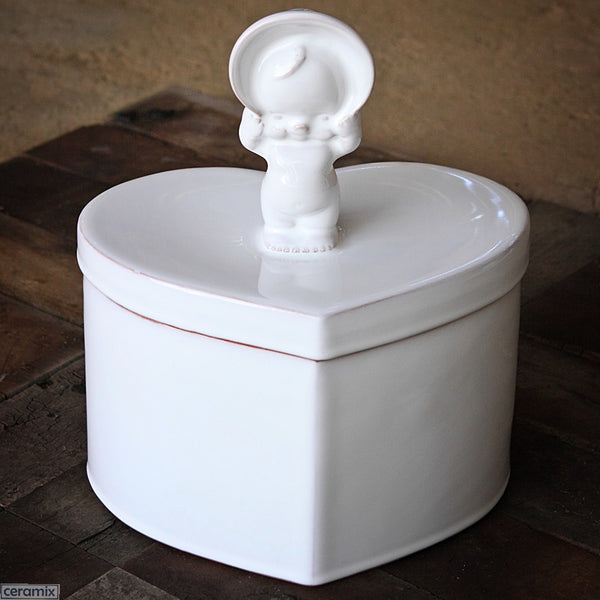 Large Ceramic Kewpie Heart Box in Terracotta Clay glazed White. Handmade in South Africa by Ceramix.