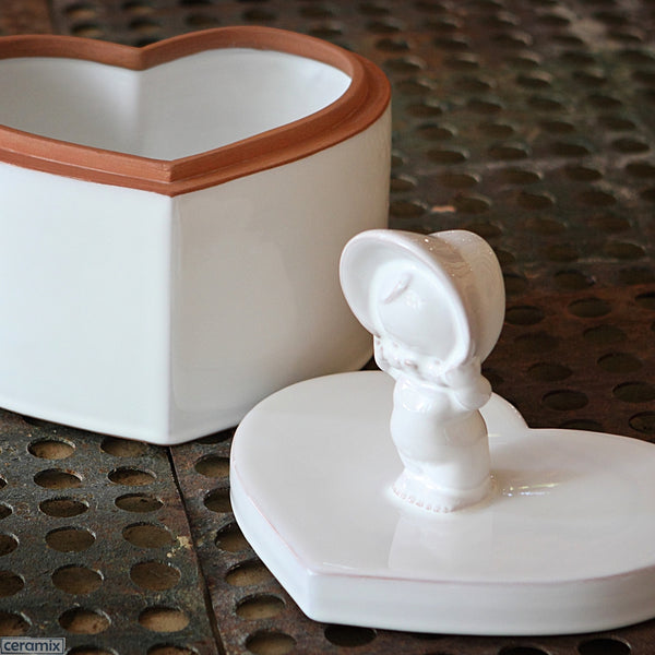 Kewpie Heart Box in Terracotta Clay glazed White. Handmade in South Africa by Ceramix.