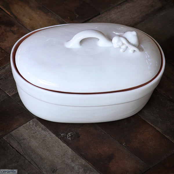 Bunny Large Oval Casserole Dish in Terracotta Clay glazed White. Handmade in South Africa by Ceramix.