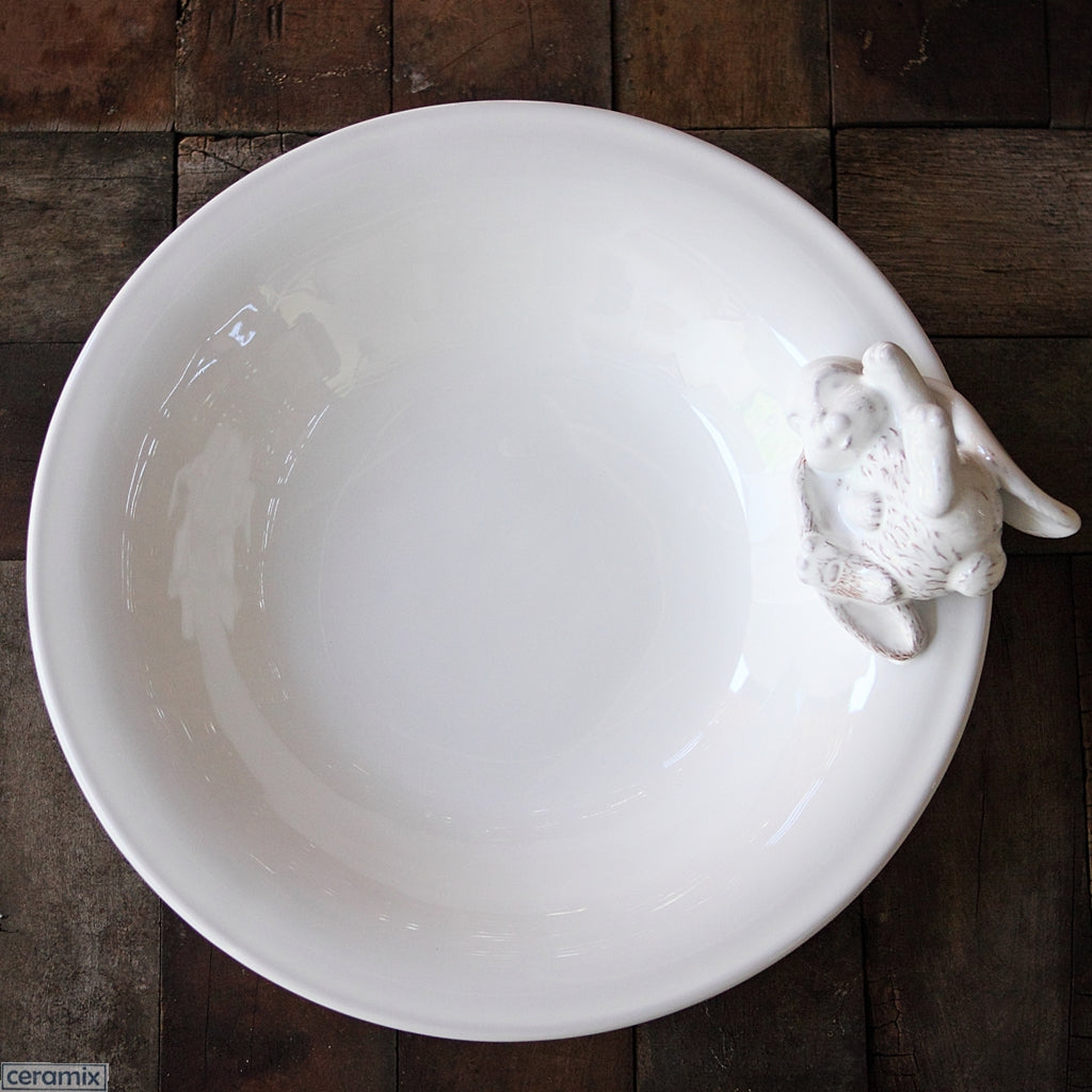 Bunny Round Ceramic Serving Bowl in Terracotta Clay glazed White. Handmade in South Africa by Ceramix.