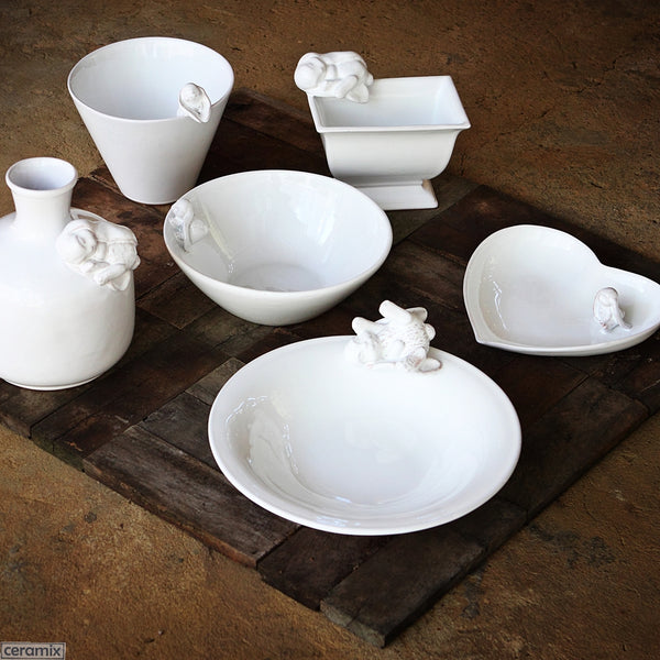 White Bunny Ceramic Ware. Handmade by Ceramix in South Africa from Terracotta Clay & White Glaze.