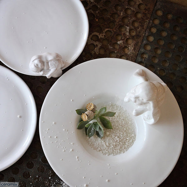 Bunny Fruit Platter & Cake Plate. Handmade by Ceramix in South Africa from Terracotta Clay & White Glaze.