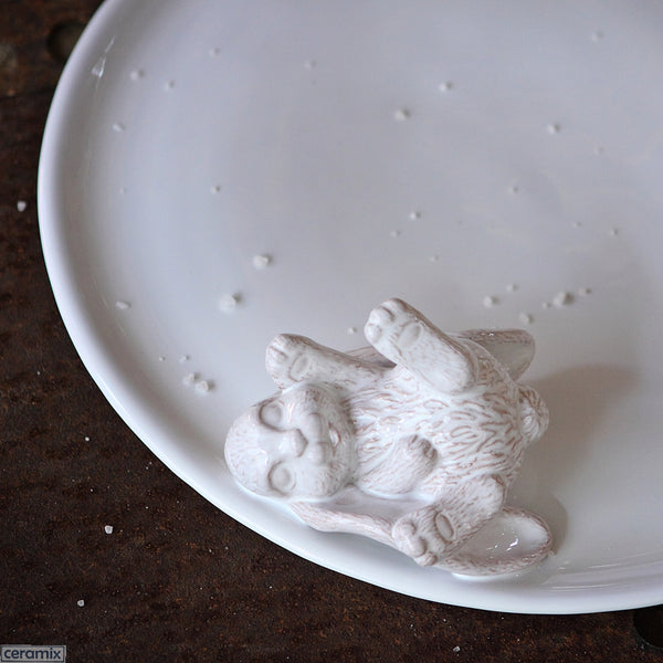 White Glazed Lying Bunny Cheese Board in Terracotta Clay by Ceramix. Handmade in South Africa.
