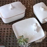 Bunny Square Plate & Casserole Dishes. Handmade by Ceramix in South Africa from African Terracotta Clay & White Glaze.