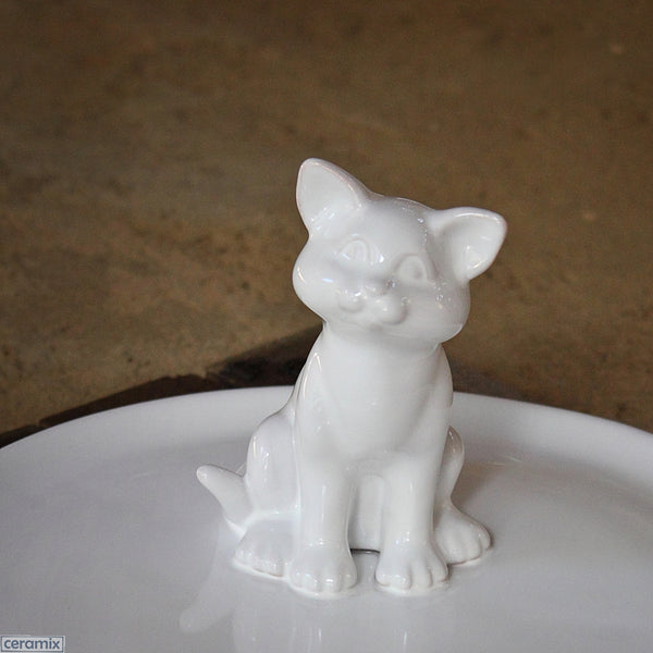 Kitten Cheese Board in local African Terracotta Clay glazed White. Handmade by Ceramix in South Africa.