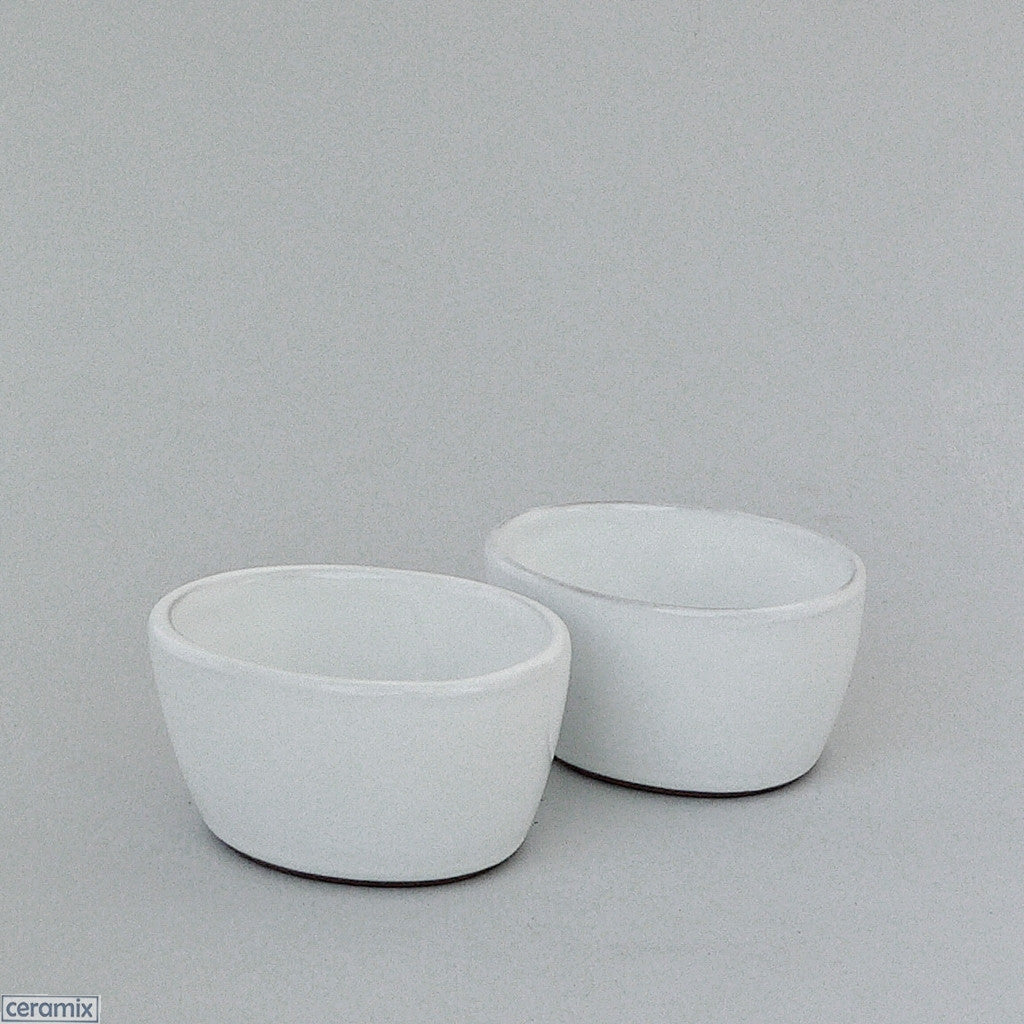 2 Small Designer Oval Bowls #2 in Terracotta Clay glazed White by Ceramix