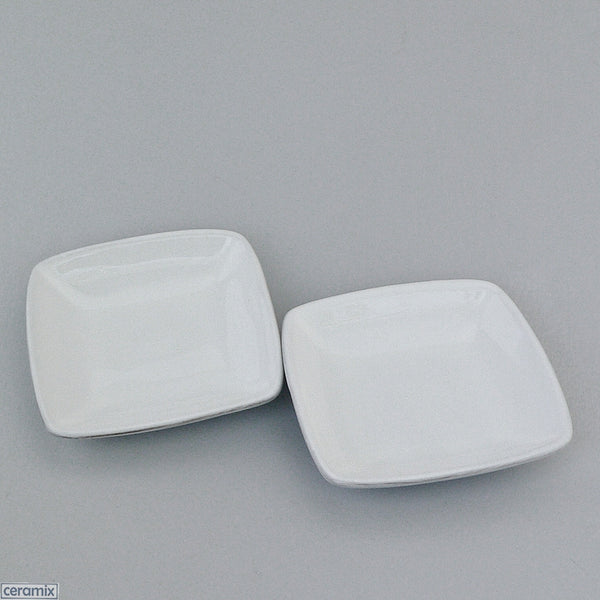 2 Designer Whatever Little White Square Dishes by Ceramix