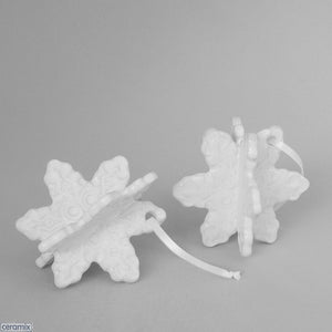 White Glazed Snowflake Christmas Tree Decorations by Ceramix