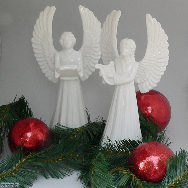 2 Ceramic Angels glazed White by Ceramix