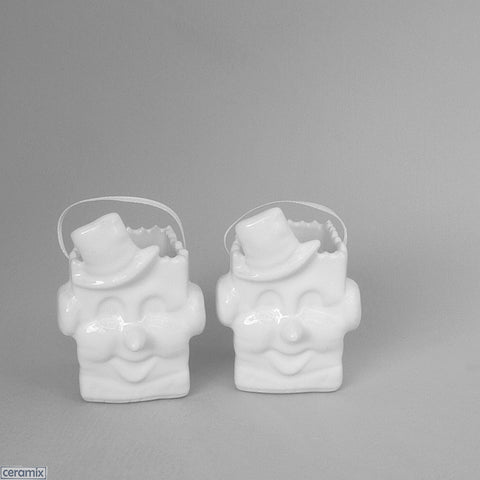 2 Little white ceramic glazed Snowman Bags by Ceramix