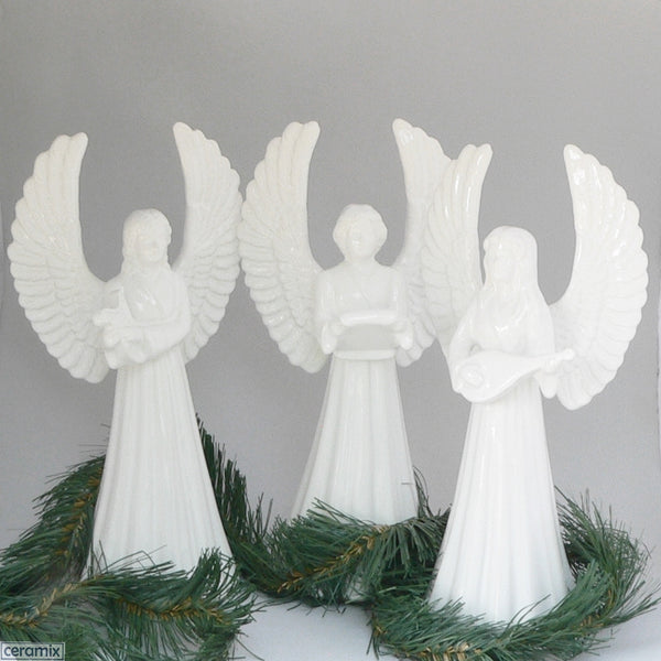 White Angels holding Harp, Music and Mandolin by Ceramix