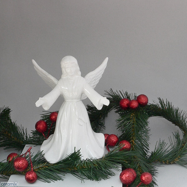 White Glazed Angel Christmas Tree Topper by Ceramix