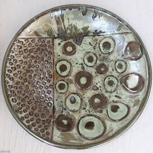 Beginnings Round Stoneware Platter Number 10 handmade by Margaret Melville at the Ceramix Pottery in South Africa from African clay 43cm Wide x 5.5cm High