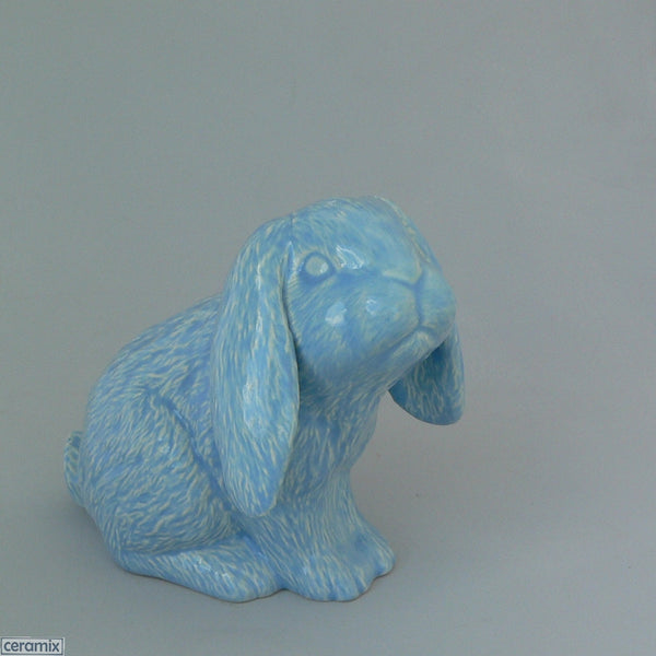 Blue Dixie Sitting Ceramic Bunny by Ceramix
