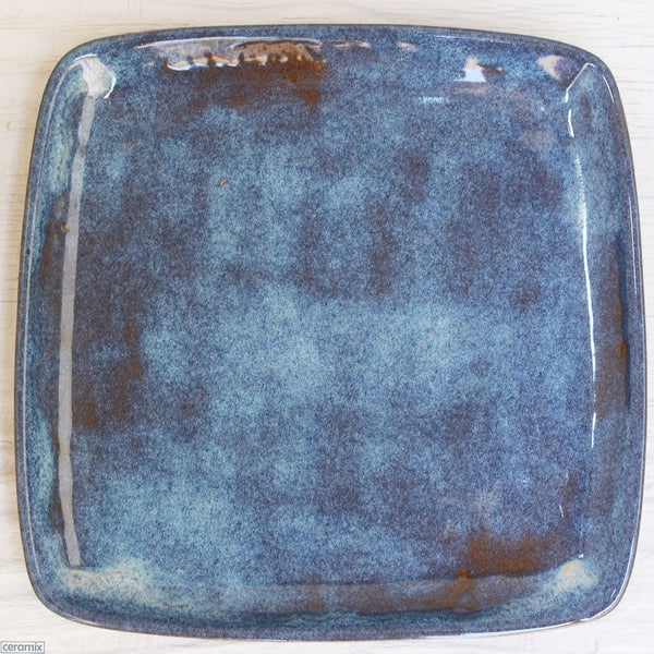 Blue Galaxy Square Plate 2 handmade by Margaret Melville at the Ceramix pottery in South Africa from African clay -26cm Wide x 2.5cm High