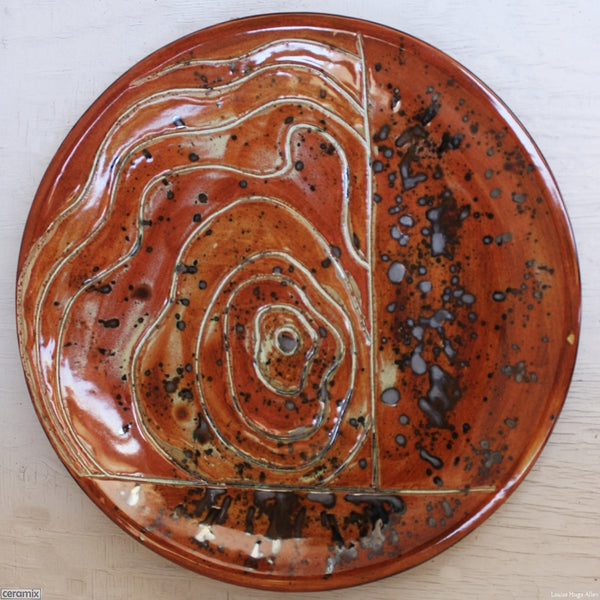 Brick Contours Round Stoneware Platter 8 handmade by Margaret Melville at the Ceramix Pottery in South Africa from African clay - 43cm Wide