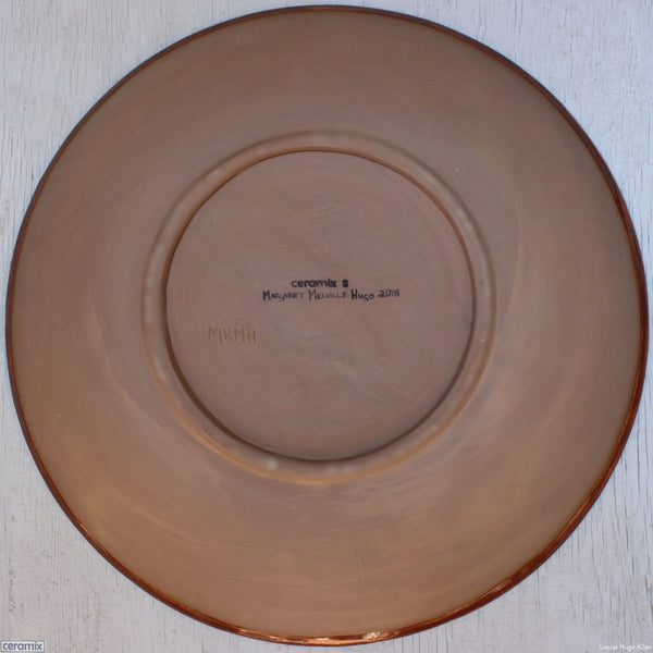 Back of the Large Round Stoneware Platter Brick Contours 8 - 43cm Wide