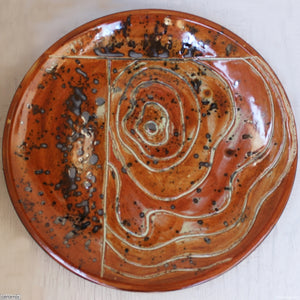 Brick Contours Large Round Stoneware Platter 8 handcrafted by Margaret Melville at the Ceramix Pottery in South Africa from African clay - 43cm Wide