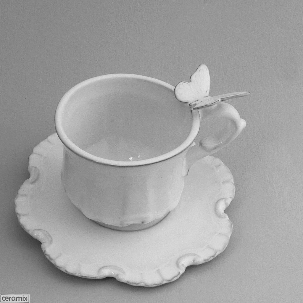 Butterfly Chateau Ware Coffee Cup & Saucer in Terracotta Clay  8Hx18cmD by Ceramix