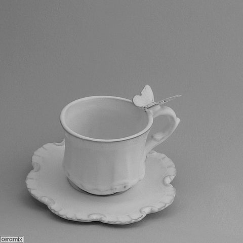 Butterfly Chateau Ware Coffee Cup & Saucer in Terracotta Clay glazed White by Ceramix