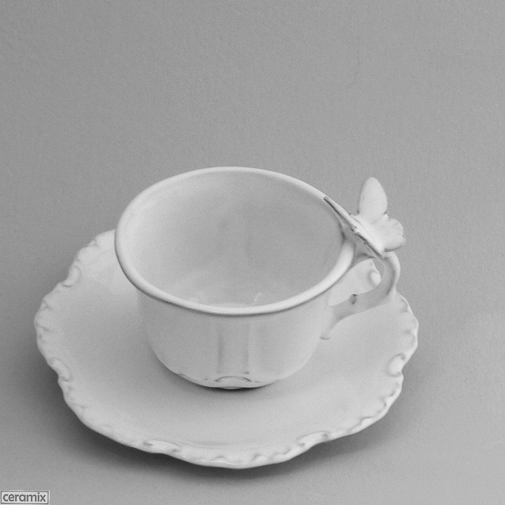 Butterfly Chateau Ware Cup & Saucer in Terracotta clay glazed White by Ceramix