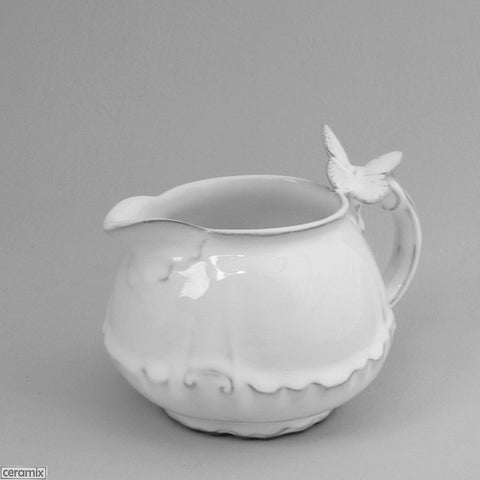 Butterfly Chateau Ware Milk Jug in Terracotta Clay glazed White 8Hx14cmL by Ceramix