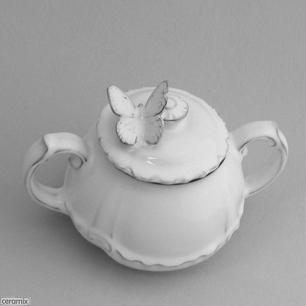 White glazed Butterfly Chateau Ware Sugar Bowl 10Hx15cmL by Ceramix