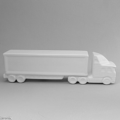 Cab Cover Truck with Box Trailer  in White Clay glazed White by Ceramix