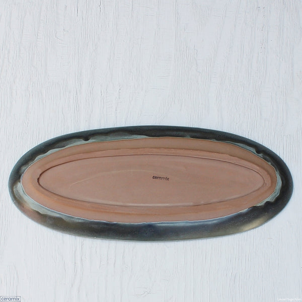 Back of the Large Oval Stoneware Platter in Cadet Grey 49cm Long x 20.5cm Wide x 2.5cm High