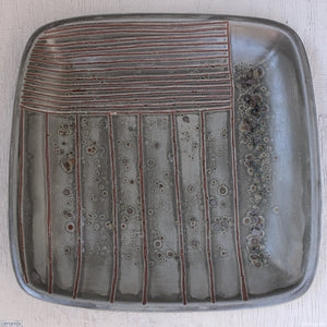 Large Square Stoneware Platter Cadet Grey Visions 10 - 39.5cm Wide x 4.5cm High