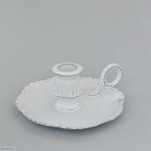 Chateau Ware White Glazed Terracotta Candle Holder 7cm High x 16cm Wide by Ceramix