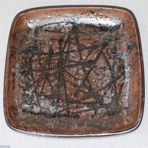 Coffee Eruption #3 Large Square Stoneware Platter  - 39.5cm Wide x 4.5cm High