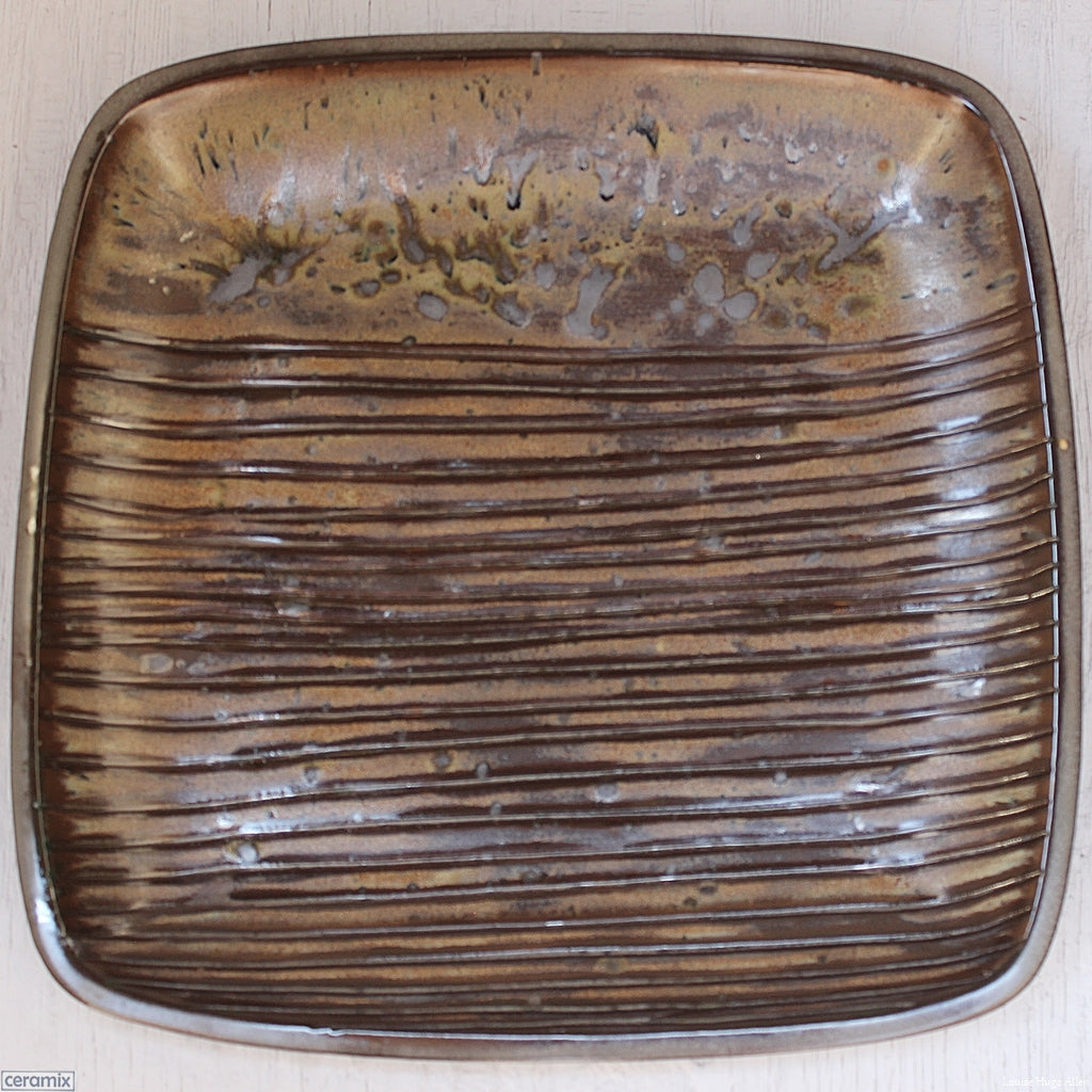 Large Square Stoneware Platter Coffee Furrows 7 - 39.5cm Wide x 4.5cm High