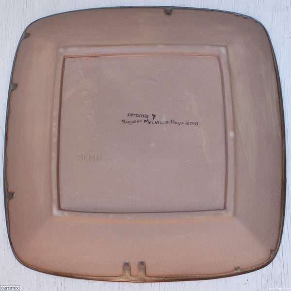 Back view of the Large Square Stoneware Platter Coffee Furrows 7 - 39.5cm Wide x 4.5cm High